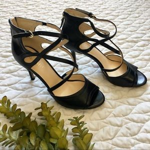 Nine West Black Leather Heels 6.5